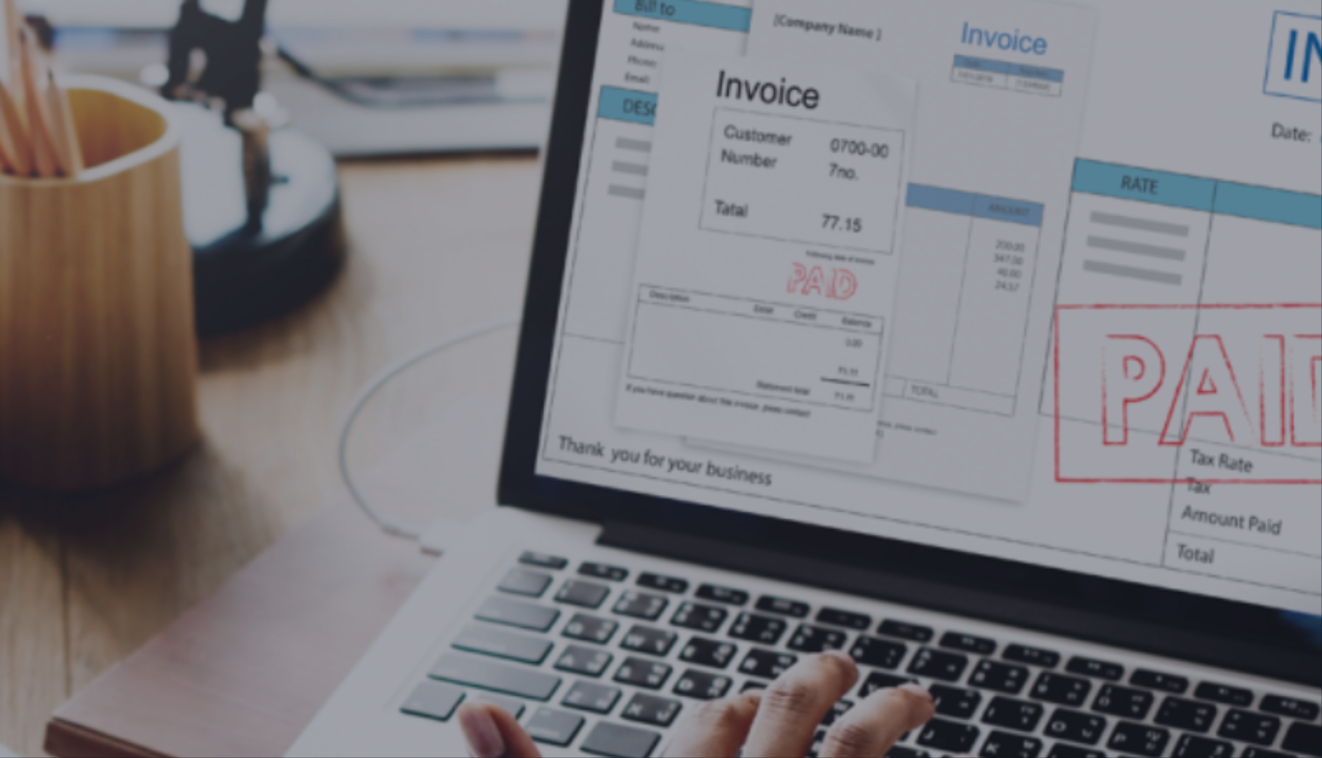 person viewing invoice online