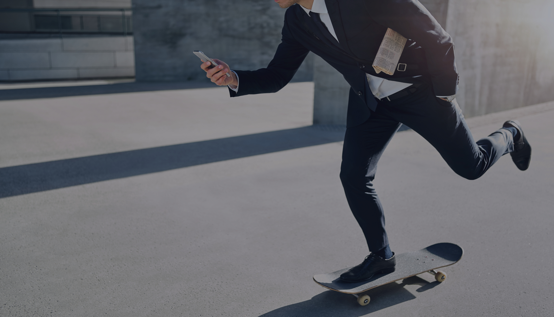 businessman on skateboard, high-risk businessman